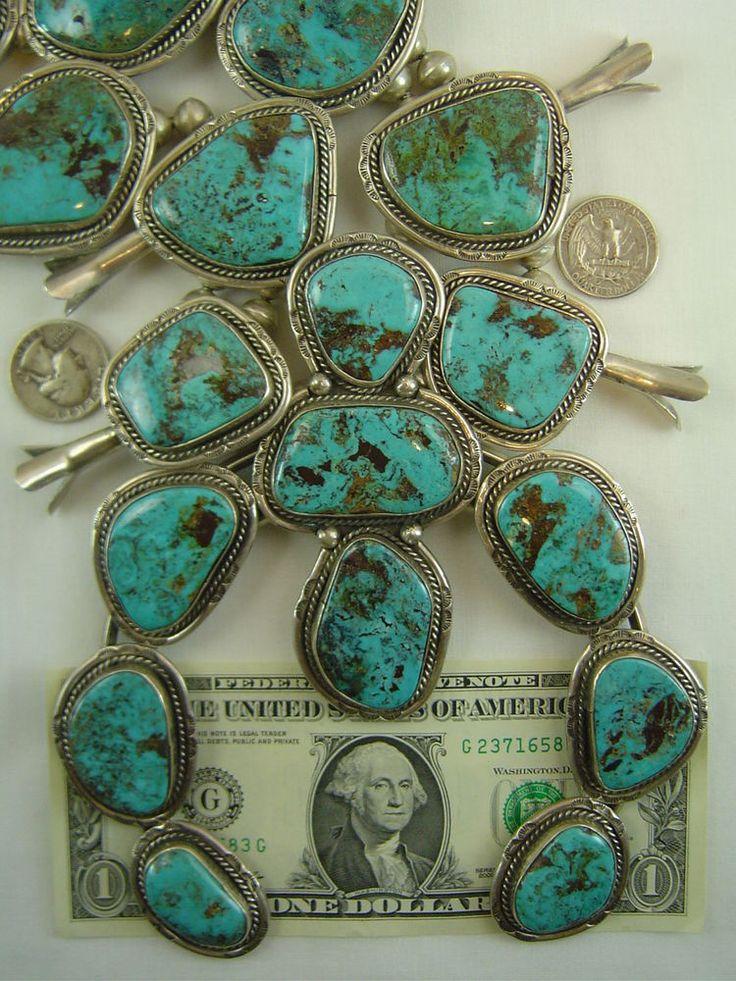 Vtg Navajo Old Pawn Sterling Silver SQUASH BLOSSOM Necklace TURQUOISE Huge 600g #SOUTHWESTERN
