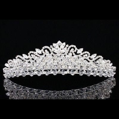 Jewelry & Watches Bridal/ Wedding/ Prom Rhodium Plated Clear Crystal Two Row Wavy Tiara Headband