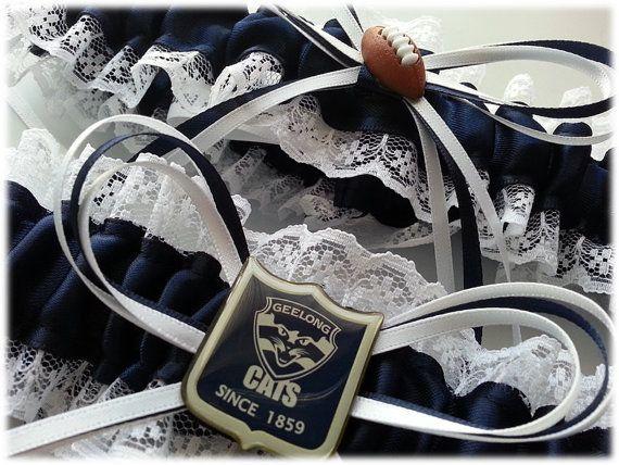 Geelong Cats Football inspired garter by AussieWeddingGarters, $55.00