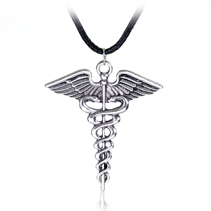 Silver Plated Medical Symbol Nurse Doctor Pendant Caduceus Necklace Snakes Wings Necklace Nurse Day Gifts