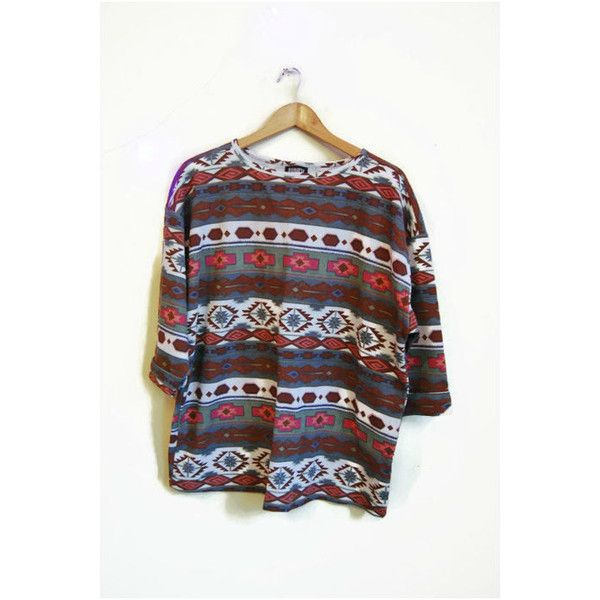 Vintage Tribal t-shirt cotone t shirt BOHO abbigliamento azteco navajo... ($17) ❤ liked on Polyvore featuring tops, t-shirts, vintage t shirts, loose tee, loose t shirt, tribal top and oversized tops
