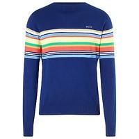 Gant Striped Crew Neck Cotton Jumper, Indigo Blue | Fashion This Week