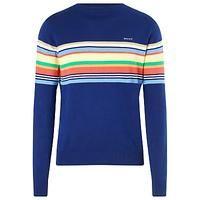Gant Striped Crew Neck Cotton Jumper, Indigo Blue   Fashion This Week