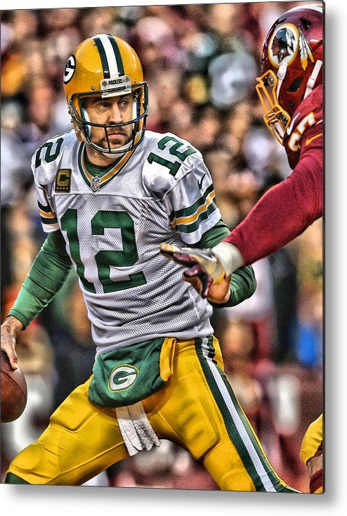 Aaron Rodgers Metal Print featuring the painting Aaron Rodgers Art 1 by Joe Hamilton
