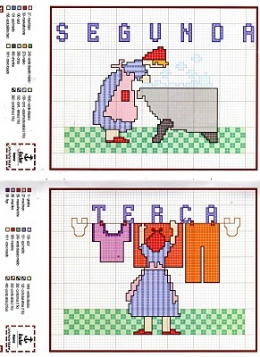 dias da semana 3: Cruz Meses, Days Of, Cross Stitch, Da Semana, Casalinga Settimana, Cross