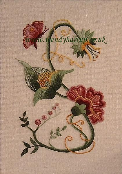 embroidery, crewel work.JPG - Hand embroidery. Jacobean Crewel work of my design. - Wendy Harrup UK I love these colors....they are all over my house. So pretty - so well done.