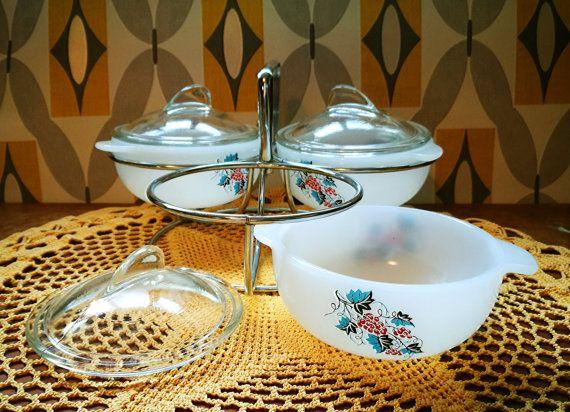 Phoenix glass Vintage Serving Dish set with stand, Retro serving dish set, Condiment Serving Set, Dip bowls set, Snack Set, like JAJ pyrex