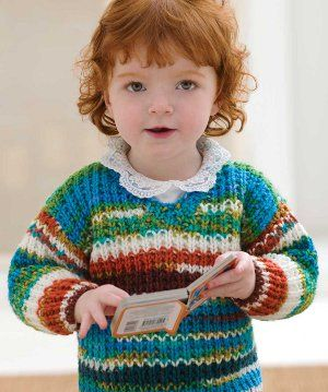 Two Skein Baby Sweater | AllFreeKnitting.com For loom knitting, a regular gauge loom with 60 pegs is needed to make size 24M
