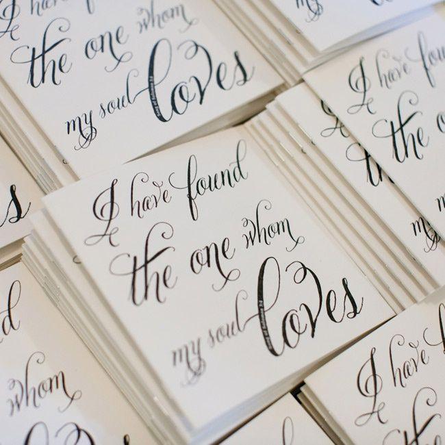 'Song of Solomon' verses on wedding programs //  photo by: Leigh Miller Photography //  programs: Katie Ann Design