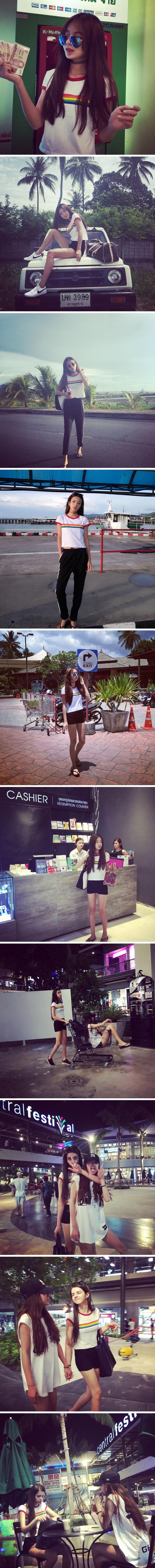 2015 versión coreana ulzzang mujeres japonesas de arco iris salvaje impresión delgado cuello redondo manga corta camiseta para mujer en Camisetas de Moda y Complementos Mujer en AliExpress.com | Alibaba Group