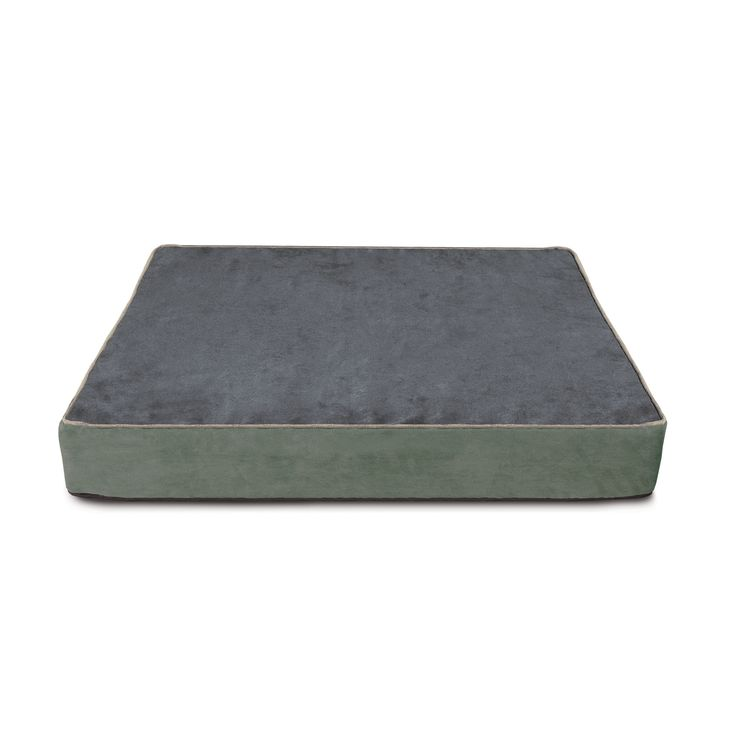 Buddy Beds Luxury Memory Foam Dog Bed Side 2:  Slate Blue with Sand Piping
