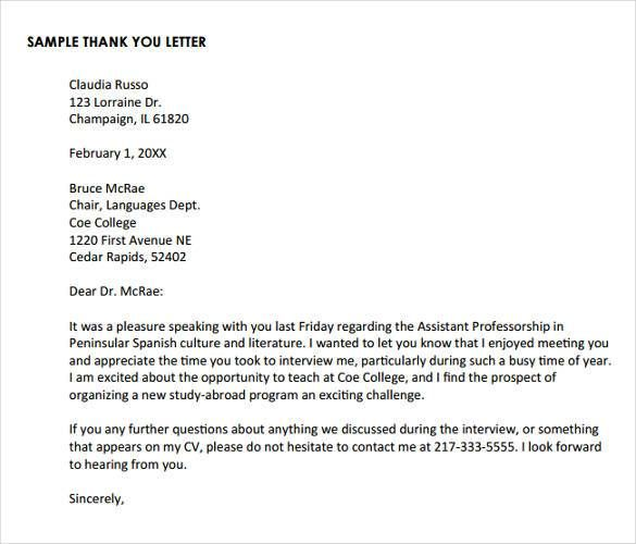 Valid Sample Thank You Letter After Interview Via Email Free