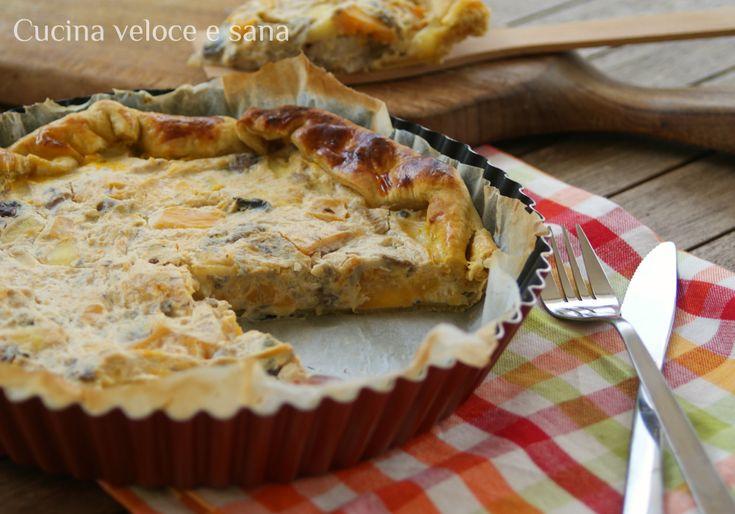 Torta salata ai funghi, zucca e ricotta