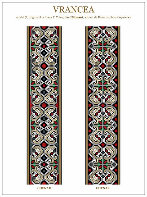 Semne Cusute: model de ie din Vrancea - embroidery patterns for the traditional Romanian costume in Vrancea http://www.pinterest.com/honcerupatricia/romanian-traditional-motifs/