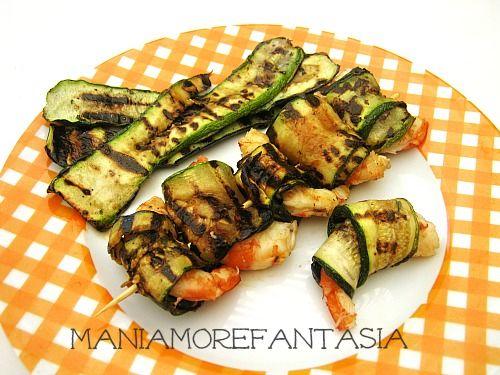 Spiedini di gamberi e zucchine | ricette gamberi | ricette light |