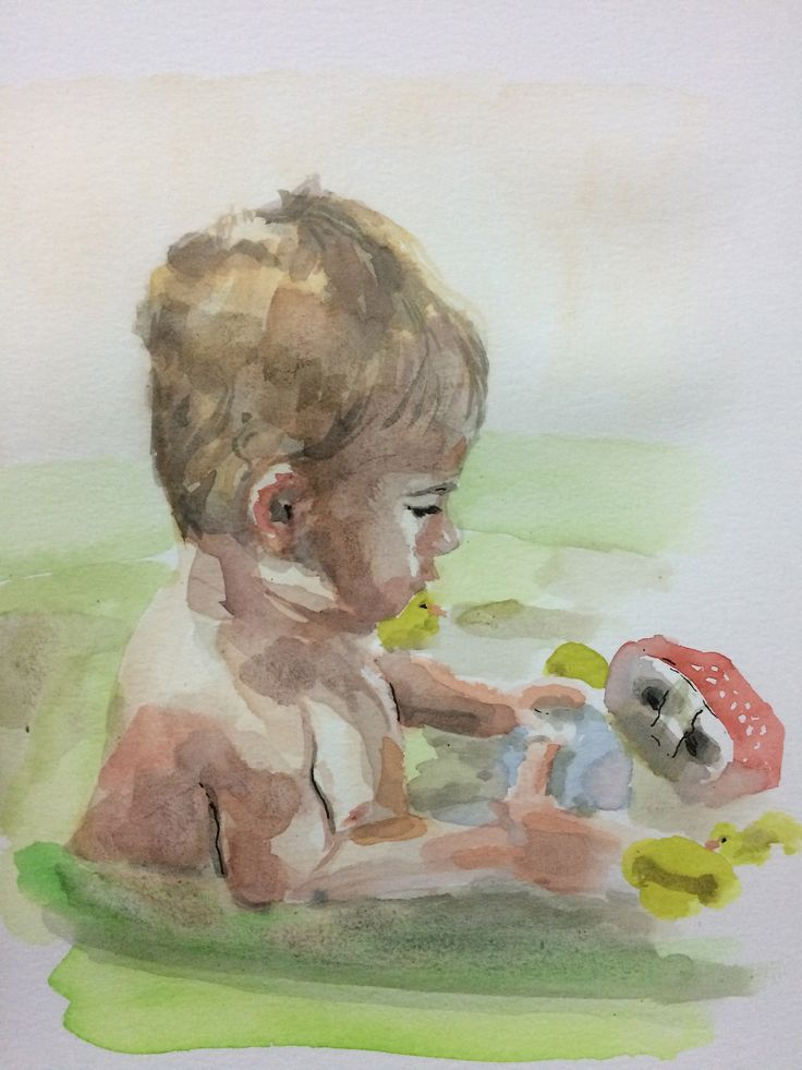 """""""Son taking bath"""" 2015, Watercolor on Paper, A4"""