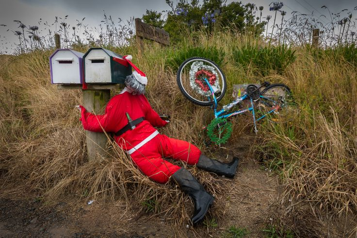 Santa was found unconscious and nearly dead on a back country road in rural Rotorua. Alcohol was believed to be a factor in the accident. Purchase a print, cards, a phone case or a full size digital file of this image at www.kirkvogel.com