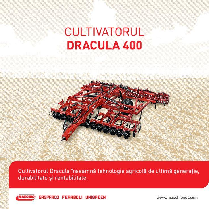Dracula 400 este o un cultivator de ultimă generație cu o lățime de lucru de 400 de cm, o greutate totală de 8000 kg, prevăzut cu 18 discuri de 610 mm. Puterea necesară pentru acest utilaj este de 280-360 CP.   Pentru detalii suplimentare, nu ezita să contactezi dealerii autorizați Maschio Gaspardo.