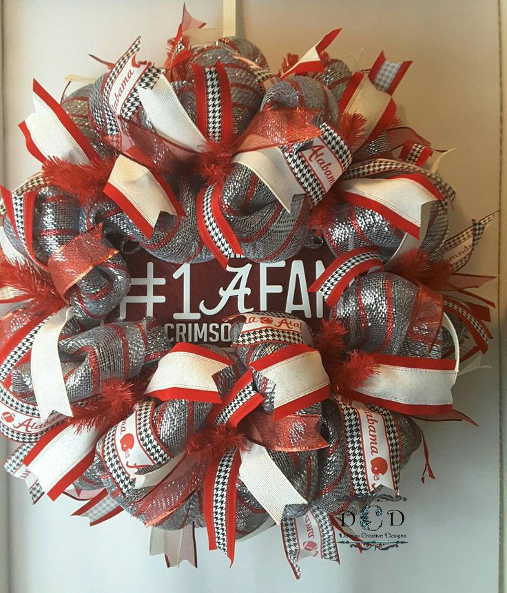 Made To Order!!  University of Alabama Wreath Roll Tide Wreath Alabama Wreath Collegiate Wreath Football Wreath SEC Wreath Crimson and White