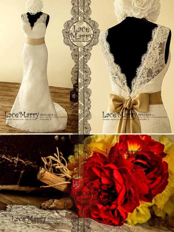 Sexy V-Neckline and Deep V-Cut Back Lace Wedding by LaceMarry
