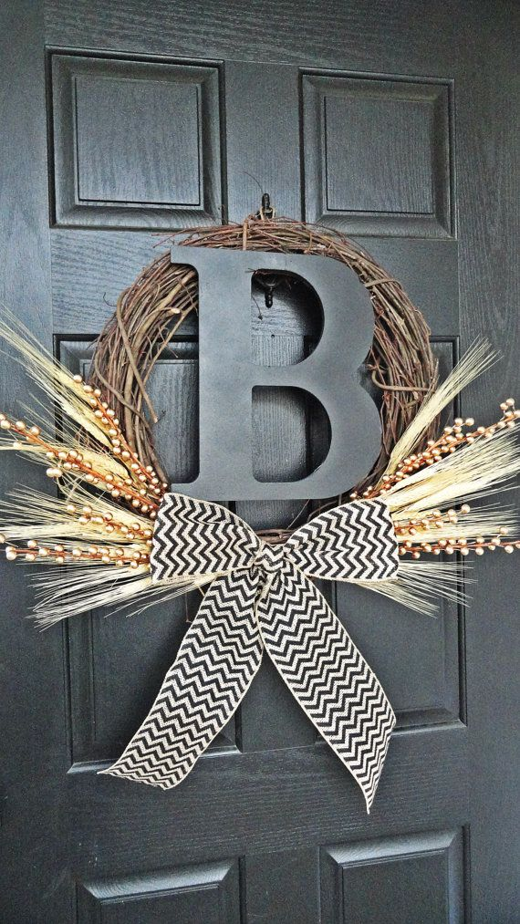 Summer and Fall Wheat Wreath With Black 12 by AnnabelleEveDesigns, $48.00