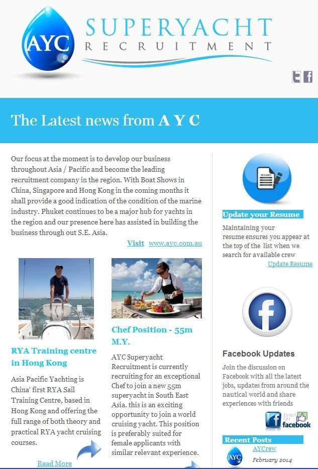 AYC Superyacht Recruitment  Newsletter highlights from March 2014 @AYCrew #superyacht