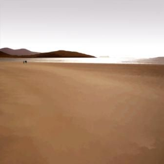 Harris Light with Walkers on the Beach by Scottish Contemporary Artist Ian LEDWARD