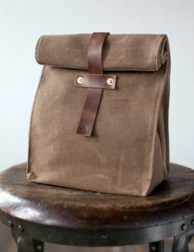 Leather lunch tote - Khaki