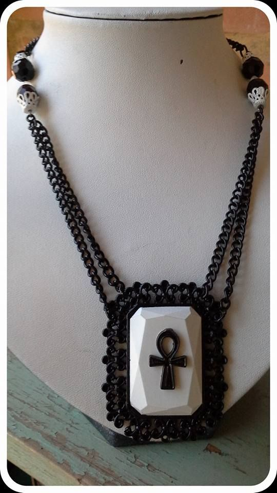Made by Grievious- Black and White Gothic Ankh Necklace