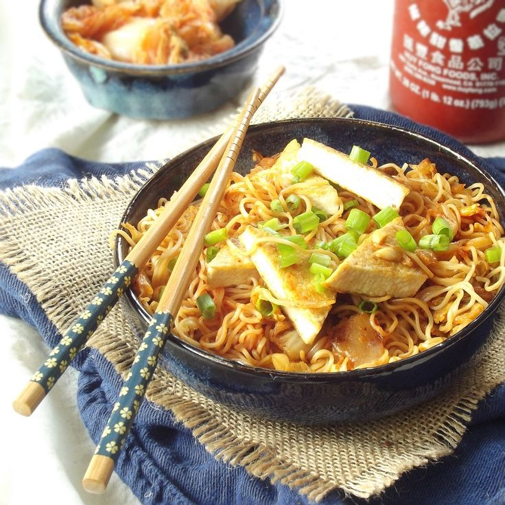 Stir-Fried Kimchi Ramen with Tofu and Peanuts  Prep time: 5 minutes Cook time: 20 minutes