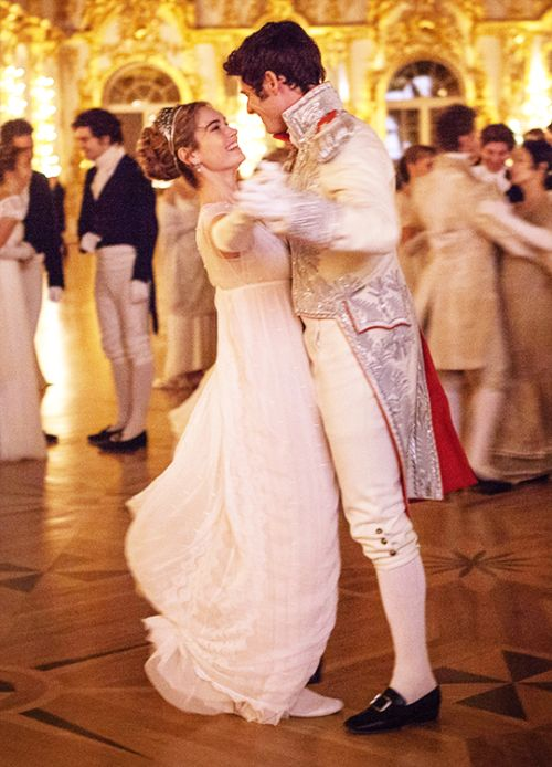 Lily James as Natasha Rostova and James Norton as Prince Andrei Bolkonsky in War and Peace (TV Mini-Series, 2016)
