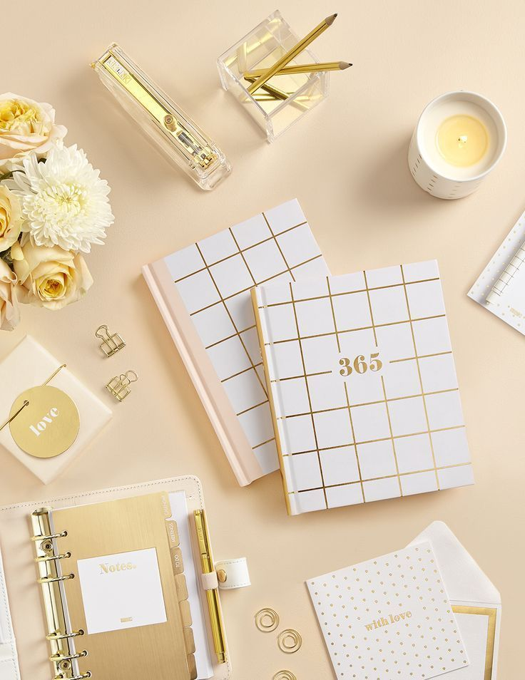 Be Inspired To Get Creative Be Mindful And Organise Your Life With These Gorgeous Gold White And Blus Gold Stationery Pink Stationery Stationery Organization