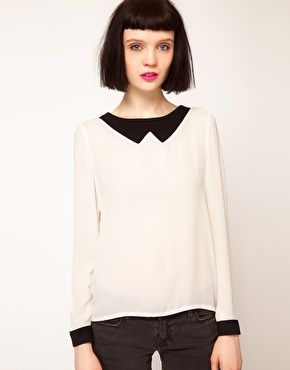 Enlarge Sister Jane Contrast Collar and Cuffs Blouse