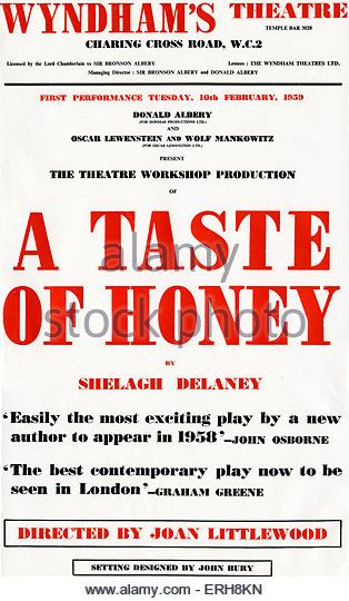 A Taste of Honey - play by Shelagh Delaney. Poster for West End premiere at Wyndham Theatre, London, on 10 February - Stock Image