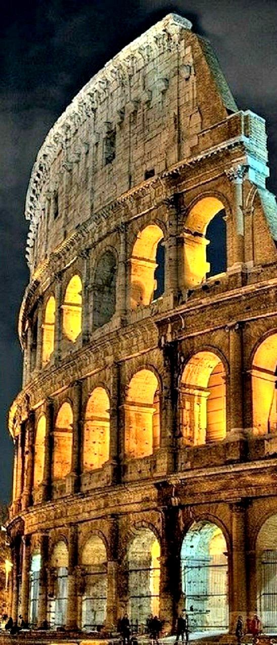 The Colosseum, Rome, Italy. It is situated just east of the Roman Forum and its construction began in 70 AD. It was used for gladiatorial contests and public spectacles such as mock sea battles, animal hunts, executions, re-enactments of famous battles, and dramas based on Classical mythology.