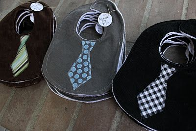 tie bibs - cute!  Who's having a boy that I could make these for?