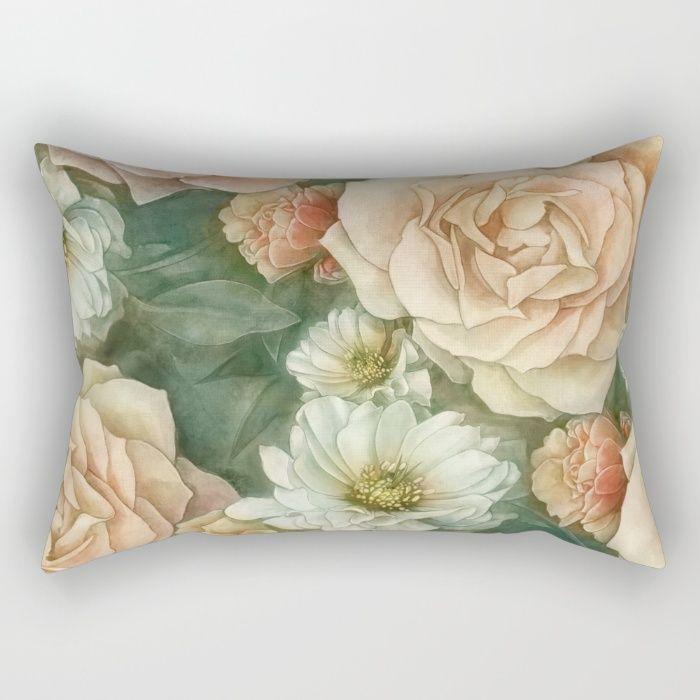 Floral rose pattern Rectangular Pillow by StrijkDesign | Society6