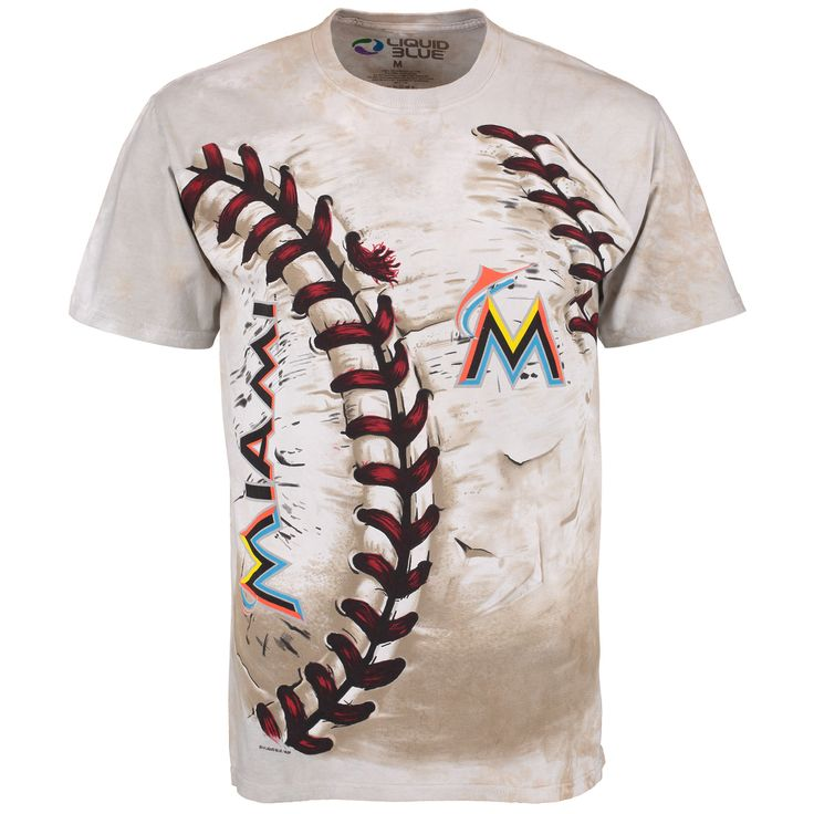 MLB Miami Marlins Hardball Tie-Dye T- Shirt - Cream