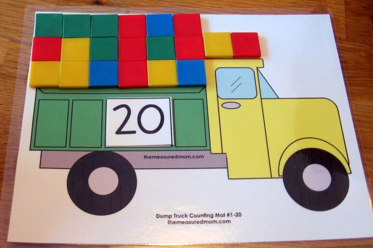 dump truck counting mat with color tiles the measured mom1 1024x683 Printable Counting Mat: Fill the Dump Truck!