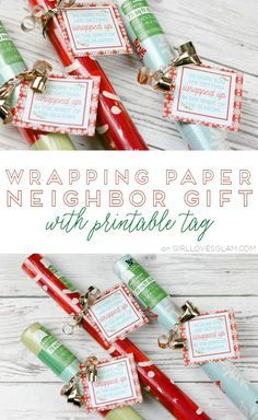 Wrapping Paper Neighbor Gift with Printable Tag on http://www.girllovesglam.com