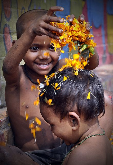 (Street Children Celebrating Spring) Beautiful Bangladesh. Here every street, every footpath is a school of celebration...