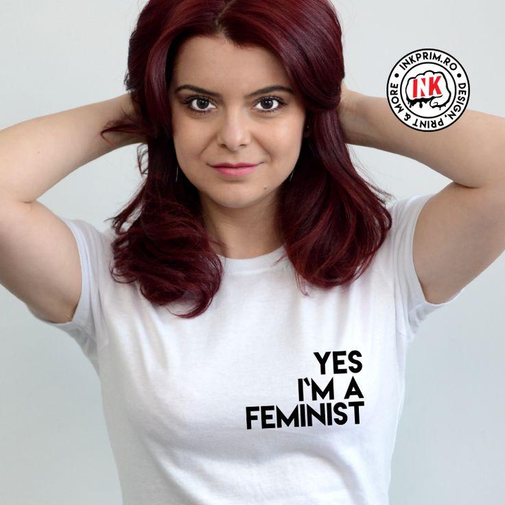 Tricou personalizat Yes, I`m a Feminist ( imprimeu piept - stânga )