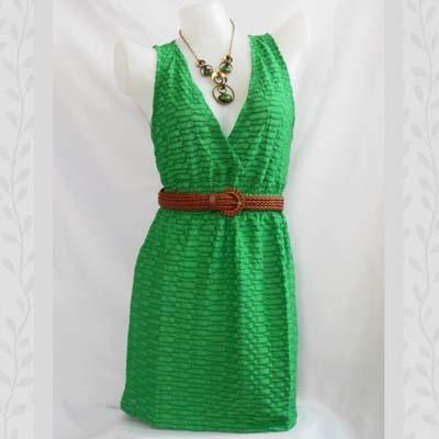 Green Chainstitch Dress