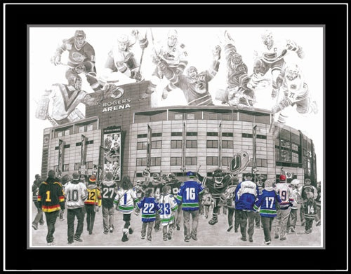 """This is my pencil drawing entitled, """"We Are All Canucks"""". This artwork was inspired by the history of the Vancouver Canucks and its strong fanbase. Limited Edition prints are available for purchase on my website at: www.jeremybresciani.com/en/artshop.asp.  Grab your's before they're gone!"""
