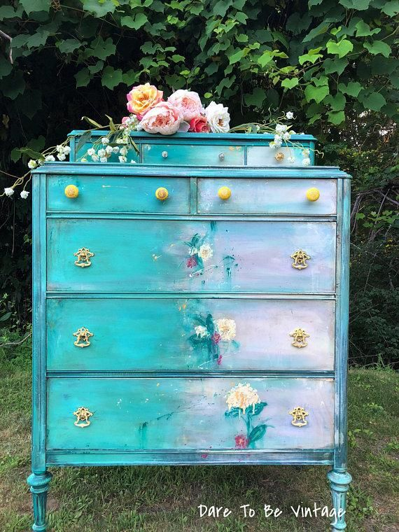 Sold Bohemian Dresser With Hand Painted Flowers Shabby Chic