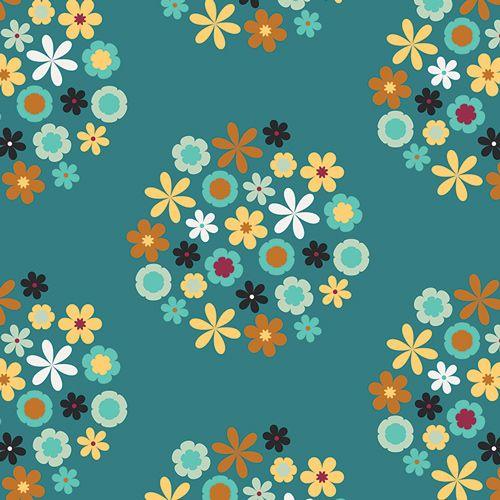 Wildflowers: Lagoon: Nordika: Jeni Baker: Art Gallery Fabrics