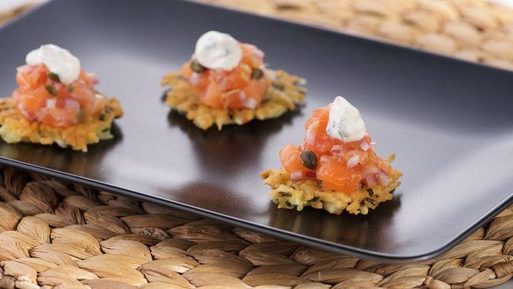 Salmon Tartare on Cassava Cakes | Asian Food Channel
