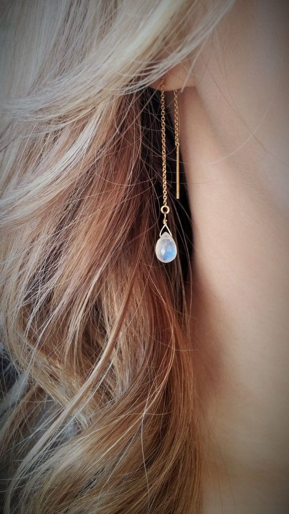 moonstone gold threader threader briolette by BEBeyondBeautiful