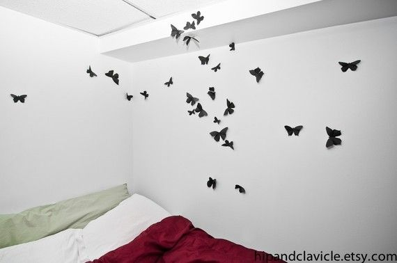 20 3D Butterfly Wall Sticker Silhouettes in Soot by hipandclavicle, $40.00