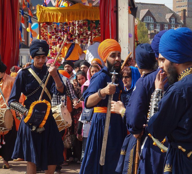 Sikh martial art experts prepare to give demonstration at Vaisakhi Festival in Southampton Vaisakhi is festival celebrating creation of the Sikh Nation.Thousands of Sikhs,women in colourful saris,men wearing turbans,join Sunday Nagar Kirtan procession.Parade is led by drummers followed by 5 sword-bearing Beloved Ones in saffron tunics escorting a float carrying Sikh holy book. Procession pauses at Sikh temples on the route for men and girls to give demonstrations of Gatka,Sikh martial art.